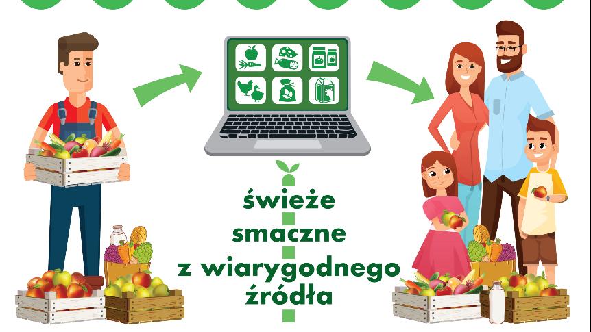 Napis: Zpraszamy na polski ebazarek www.polskiebazarek.pl na daszku straganowym w pomarańczowym kolorze, twarz rolnika, laptop - na pulpicie piktogramy róznych rodzajów jedzenia, uśmiechnięta trzyosobowa rodzina.