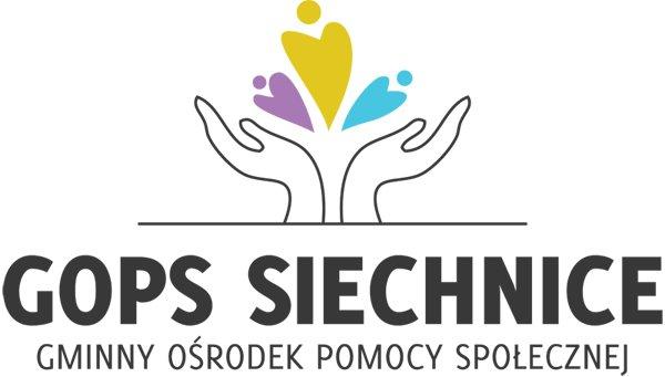 Napis GOPS Siechnice, Gminny Ośrodek Pomocy Społecznej, ręce, serca kolory: fioletowy, żółty, turkusowy