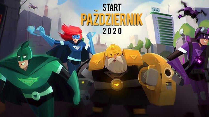 "Rysunek 4 postaci superbohaterów; napis ""start październik 2020"""