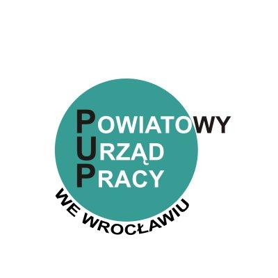 Koło w morskim kolorze, a na nim napis Powiatowy Urząd Pracy we Wrocławiu