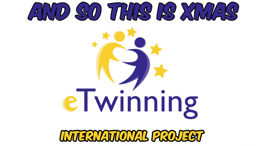 granatowy napis and so this is xmas e twining international projekt, dwie postacie przypominające ludzi, jedna żółta, druga granatowa