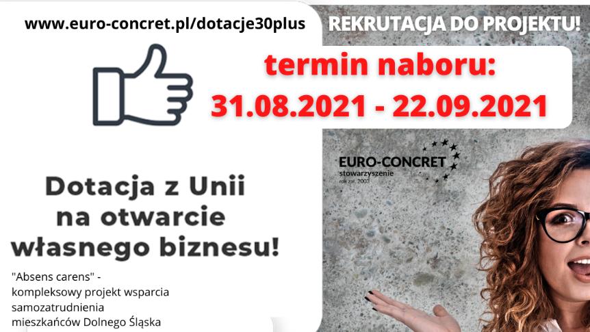 Plakat z informacjami dotyczącymi szczegółów wsparcia finansowego.
