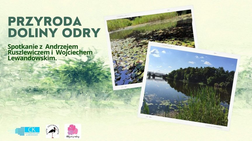 Na zielonym tle dwa zdjęcia z rzeką Odrą.